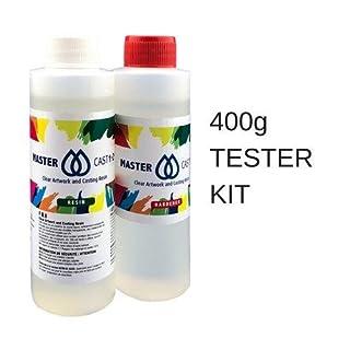 Clear resin epoxy art grade resin 400ml Tester Kit (U.V Stabilised) MasterCast 1-2-1, with hardener and free mixer tool (U.K stock)