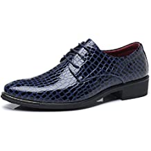 Scarpe Uomo Eleganti Oxford Derby Pelle Stringate Basse Sneakers Brogue  Vintage Autunno Appuntito Scarpe Nero Blu 16911aad579