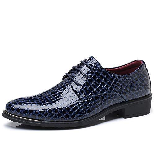 NEOKER Herren Lederschuhe Oxford Derby Business Anzugschuhe Lackleder Hochzeit Freizeit Outdoor Uniform Arbeits Schuhe Blau 46