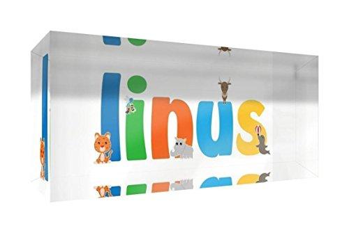 Little Helper Linus-515blk 15de Diamant poli Baby andenken/jeton, personnalisé avec le nom jeunes, Linus, petit, 5 x 15 x 2 cm