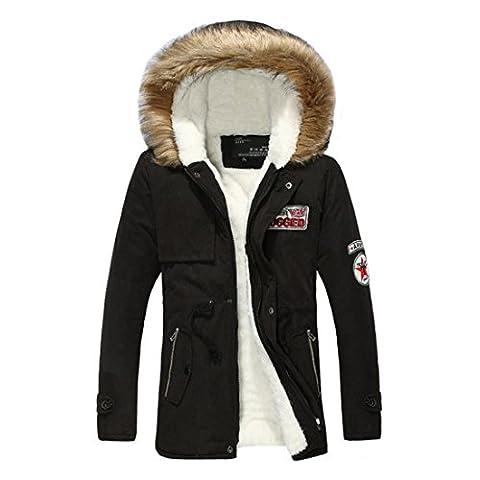 ASCHOEN Herren Jacke Softshelljacke Kapuze Mantel Outwear Outdoorjacke Kapuzenjacke Winterjacke Schwarz