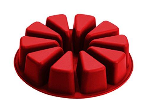 Moule en Silicone 28 x 28 x 6 cm Grand Coussin Rond en Silicone Moule à gâteau des portions Individuelles, Rouge/Marron