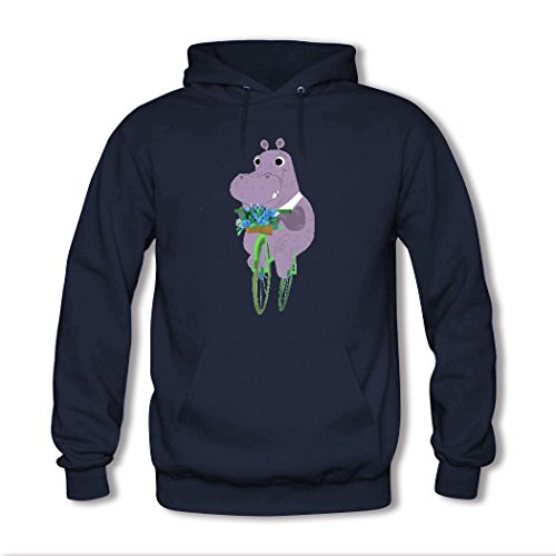 HGLee Printed Personalized Custom Hippo Womens Hoodie Hooded Sweatshirt Navy