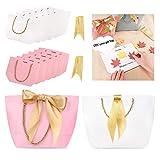 Phogary Sacs-Cadeaux avec poignées - 12PCS 11x7.9x3.5 Papier Sac de fête avec Ruban pour Un Cadeau de Mariage (Rose et Blanc, Moyen)