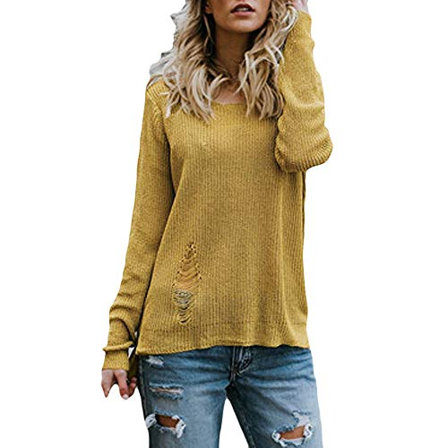 Womens Long Sleeve Pullover Sweater Oversized Knitted Jumper (Sweatshirt Crewneck Usa)