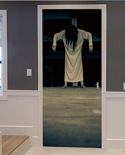 zoomingmingli Unheimlich Japanerin Geist Halloween Dekoration 3D Ansicht Wand Tür Aufkleber Wohnkultur Wandbild