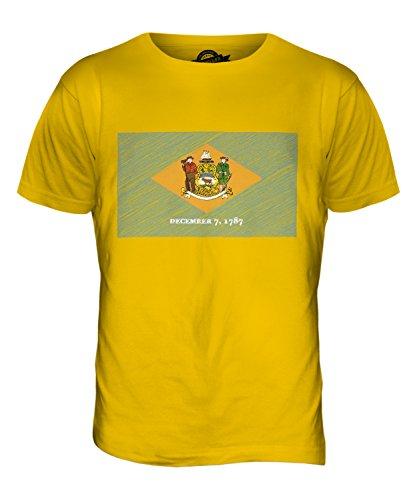 CandyMix Bundesstaat Delaware Kritzelte Flagge Herren T Shirt Dunkelgelb