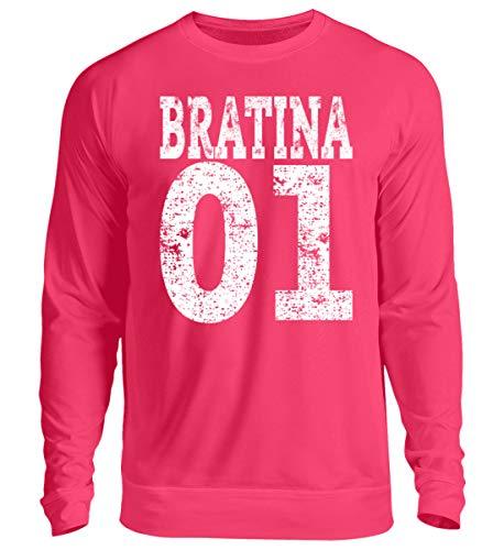 Hip Hop Bratina 01 Rap Schwester Russisch Brate Bratan Geschenk - Unisex Pullover -S-Hot Pink