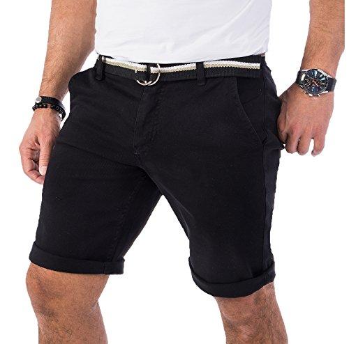 Rock Creek Herren Chino Shorts Hose Kurz Chinoshorts Inkl Gürtel Männer Sommer Bermuda Stretch Rc-2133 34 Schwarz