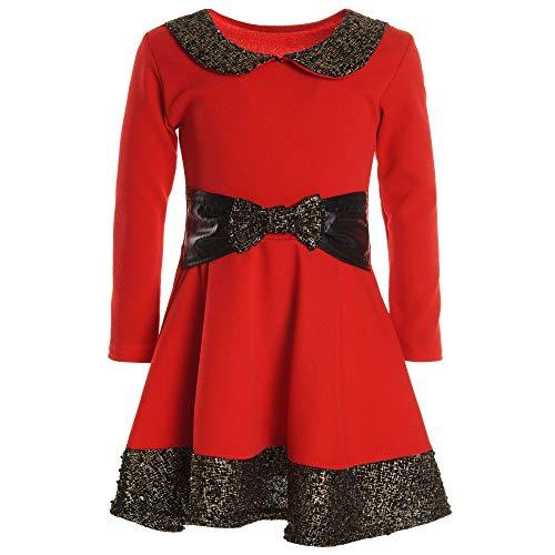 (BEZLIT Mädchen Kinder Spitze Winter Kleid Peticoat Fest Lang Arm Kostüm 20914 Rot Größe 116)