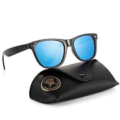 Rocf Rossini Polarisiert Herren Sonnenbrille für Damen klassisch Retro Sonnenbrillen Männer und Frauen Vintage Anti Reflexion UV400 Schutz - Unisex (Schwarz/Blau)
