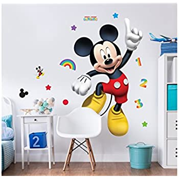 Walltastic Disney Mickey Mouse Large Character Wall Sticker Set,  Multi Colour
