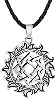 Jinleansu Slavic Kolovrat Pendant Wheel Amulet and Talisman Pagan Mens Womens Necklaces Jewelry Gift