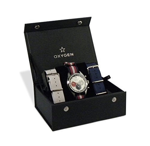 Oxygen Long Island 40 Set Unisex Quartz Watch with Silver Dial Analogue Display and Multicolour Nylon Strap