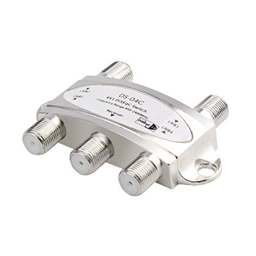 4 in 1 4 x 1 DiSEqc 4-Wege-Breitband-Schalter DS-04C hohe Isolation Connect 4 Satellitenschüsseln 4 LNB für Satelliten-Receiver