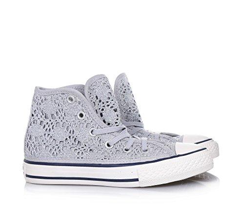 CONVERSE - Sneaker à lacets argent en tissu ajouré, pièce en caoutchouc à l'avant, œillets argent, fille, filles Argent