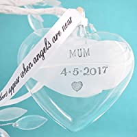 Angel Feather Heart Bauble Personalised Glass Hanging Decoration Handmade Memorial Sympathy Keepsake