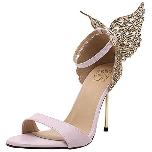 Oasap Women's Peep toe Stiletto Butterfly Party Sandals pink