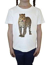 Jaguar Blanco Algodón Niña Niños Camiseta Manga Corta Cuello Redondo Mangas White Girls Kids T-shirt