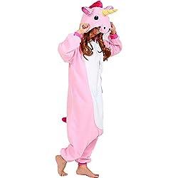 QUMAO Pijama Animal Unicornio Entero para Adultos Pijama Mono Animal para Mujer Hombre Disfraz para Navidad con Capucha Invierno Franela Estilo con Botones/Cremalleras Al Azar