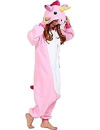 QUMAO Pijama Animal Unicornio Entero para Adultos Pijama Mono Animal para Mujer Hombre Disfraz para Navidad