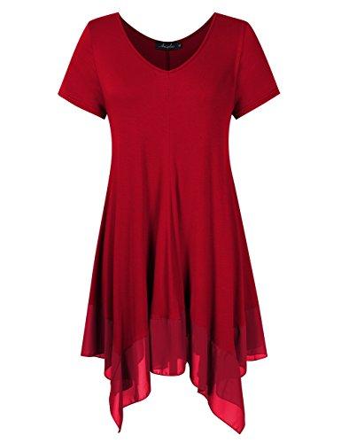 KoJooin Bekleidung Damen Kurzarmshirt Plus Size Asymmetrisches Casual Tshirt Lange Damen Bluse (5XL, Weinrot) (Kleid Plus Size Frauen Shirt Für)