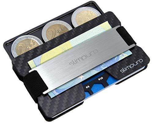 netui mit Münzfach ATTO - Carbon Slim-Wallet mit Aluminium CoinCard - TÜV RFID / NFC Schutz - Premium Kartenetui mit Geldklammer - Mini Geldbörse Geldbeutel (Silber Metal) ()
