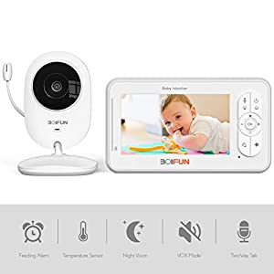 Baby Monitor with Camera, BOIFUN 4.3'' HD Screen 1200mAh Rechargeable Battery with 2.4 Ghz Wireless Stable Connection VOX Night Vision Temperature Monitor Two-Way Talk Baby/Elder/Pet   11