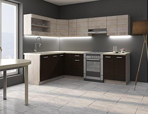 Eckküche Küche Mary170x250 cm Küchenzeile Küchenblock Winkelküche Chamonix Eiche