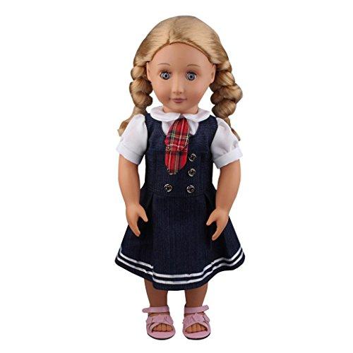 HKFV 2PC Student Kleidung Denim Kleid Uniform Outfit für 18 Zoll American Girl Doll Puppe Fliege Shirt + Denim Rock 2 Sätze Tie White Shirt+Denim skirt (Shirt Life Denim)