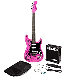 Jaxville Pink Punk ST Style Electric Guitar Pack with Amp, Gig Bag, Strings, Strap, Lead and Plecs (B001JJLXIY) | Amazon price tracker / tracking, Amazon price history charts, Amazon price watches, Amazon price drop alerts