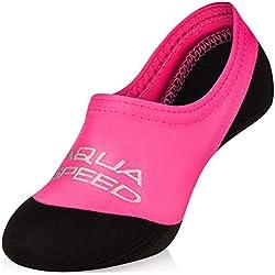 Aqua-Speed NEO SOCKS aux Enfants | 20-29 | Chaussettes en néoprène | Semelle antidérapante | Elastic | Facile, Couleur:pink;Taille:28/29