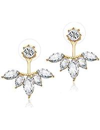 Bold N Elegant 2 Sided Shining Crystal Stud Earrings for Women and Girls (Gold)