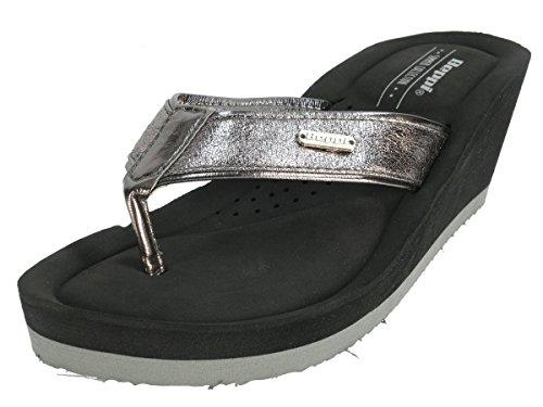 Beppi Chaussures Femme séparateurs d'été badelatschen Multicolore - Argenté/noir