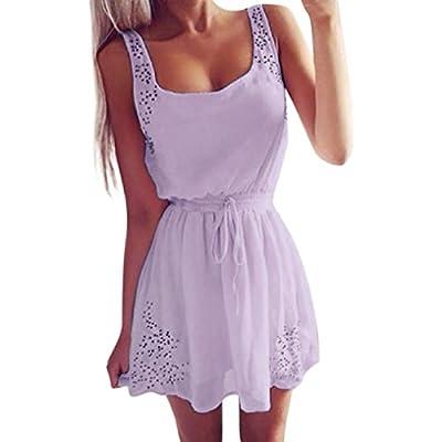 Hffan SommerKleid Damen Sexy Ärmelloses ChiffonKleid Elegant Einfarbig Party Abendkleid MiniKleid Freizeitkleid Cocktailkleid Spitzenkleid Knielang Kleid Hemdkleid Blusekleid Kleidung