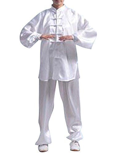 Chi Ausbildung Tai (Bequem Kung Fu Uniform Tai Chi Kampfkunst Kleidung Wushu Anzug Trainingsanzug Tops Und Hose Unisex Schnee Weiß L)