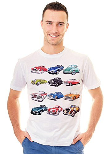 Retreez Retro Classic Vintage Cars Collection Graphic Printed T-Shirt Tee - Weiß - Klein