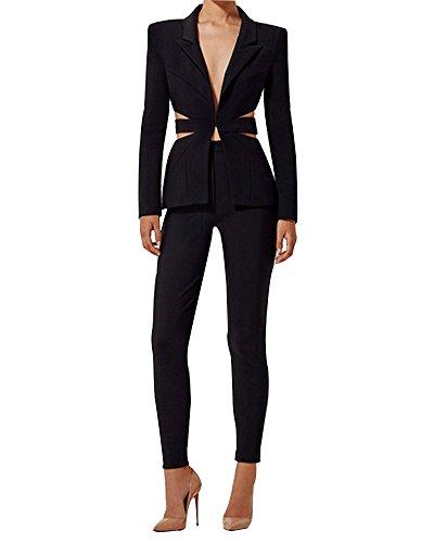 Whoinshop Eleganter Damenblazer Blazer Baumwolle Jäckchen Geschäfts Freizeit Party Jacke (S, Schwarz) (Hose Blazer Anzug Jacke)