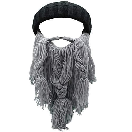 Metyou Erwachsene Mütze Wikinger Bart Beanie Horn Hut Winter Warm Maske Strickmütze Wolle Lustige Totenkopfmütze, grau