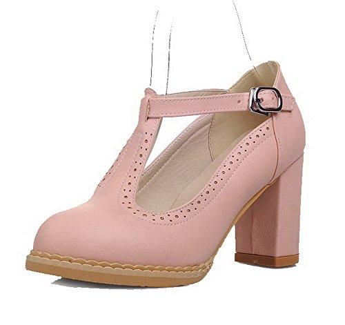 VogueZone009 Damen Weiches Material Rund Zehe Hoher Absatz Schnalle Rein Pumps Schuhe Pink