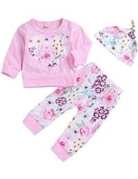 K-youth Ropa Bebe Otoño Invierno Infantil Recién Nacido Niña Casual Niño Impresión Camisas de Manga Larga Blusas Tops + Pantalones Largos y Sombrero 0-24 Meses Bebé Ropa Conjunto