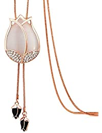 Womage Stylish Rose Bud White Colour Long Chain Pendant Tassel Necklace For Girls And Women - Jewl-30