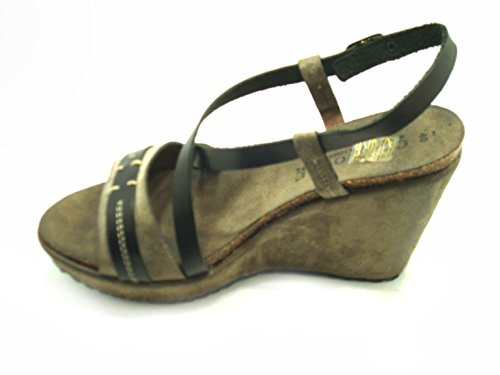 CafèNoir 8:10  Sandalo Zeppaeb120-122,  Damen Sandale mit Plateau-Sohle nero cenere