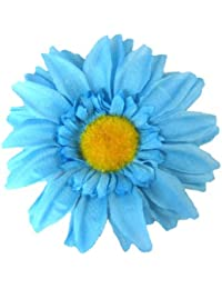 Blue Sunflower with Yellow Centre Set on Double Prong Hair Clip.
