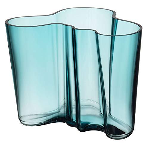 Iittala Alvar Aalto Vase en Verre Bleu mer 160 mm