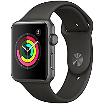 Apple Watch Series 3, 42 mm, Aluminiumgehäuse space grau, Sportarmband grau