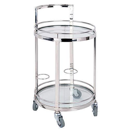 SQINAA Runde 2-Regal Metall und ausgeglichenes Glas tablett Wagen,Multi-Purpose bar cart Servierwagen mit 4 rädern Beistelltisch für Restaurant Hotel-E 45x82.5cm(18x32inch) -