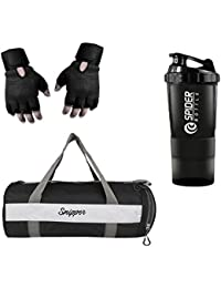 SNIPPER Combo Of Gym Bag With Shoe Compartment,Gym Gloves And Spider Shaker Bottle(Black) Gym & Fitness Kit