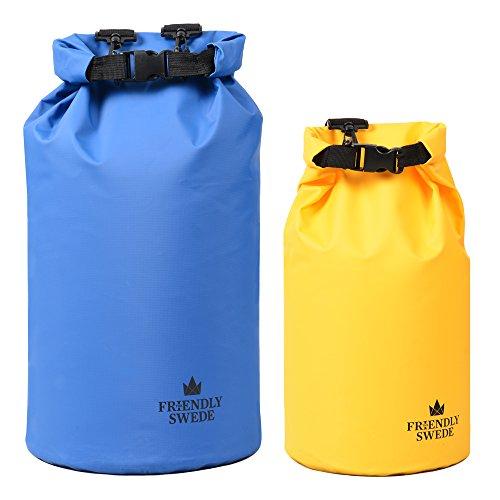 The Friendly Swede 2 x Dry Bag Seesack - wasserfeste Outdoor Trockentasche Packsäcke Blau und Gelb (10L und 20L)