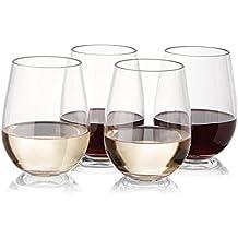 NOTMOG ™ Bicchieri da vino–Set di 450ml 16oz infrangibile Stemless riutilizzabile Bicchiere in plastica bicchiere vino stile, plastica, Transparent Clear, Set di 8